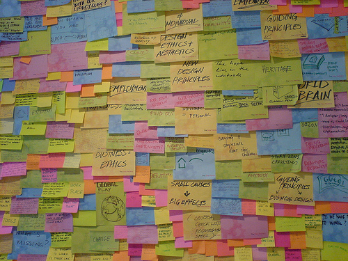 A post-it wall