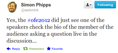 A tweet from Simon Phipps during OFE2012